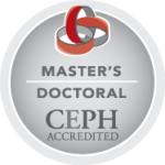 The logo for the Council on Education for Public Health (CEPH) is a circle with the words Master's/Doctoral CEPH Accredited and an image of three red and gray interlocking circles.