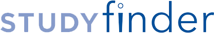 The logo of the Penn State College of Medicine StudyFinder database of clinical research studies includes the word STUDY in all uppercase in a periwinkle blue and the word finder in all lowercase in a deeper blue. The image is on a transparent background.