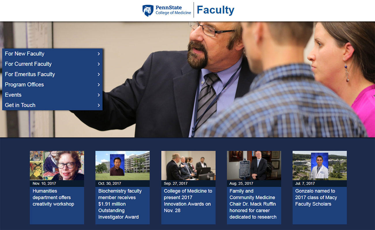 A screenshot of Penn State College of Medicine's Faculty website, faculty.med.psu.edu, is seen. The website features a large photo with a menu superimposed at left, and a set of news headlines visible beneath it.
