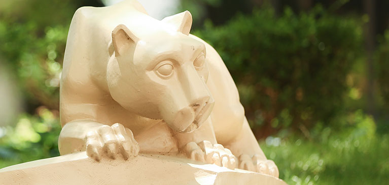 The Penn State Nittany Lion statue is seen in the courtyard at Penn State College of Medicine.