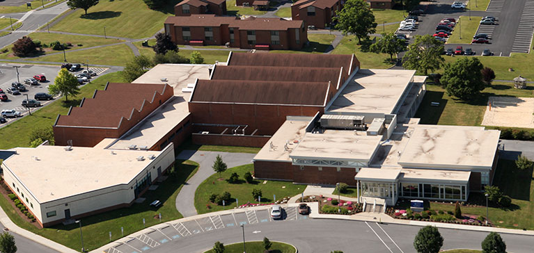 The University Fitness Center and University Conference Center in Hershey, PA, are shown from an aerial view.