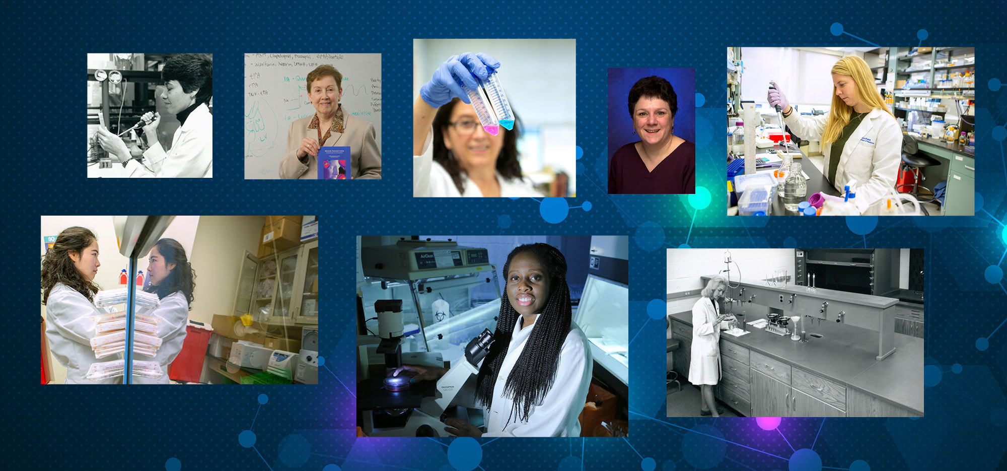 A collage of eight photos shows women from the past and present engaged in various forms of scientific work.
