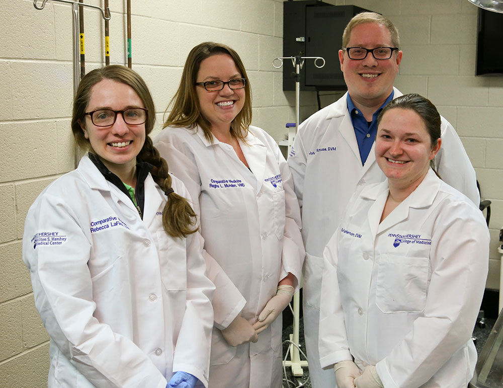 The Laboratory Animal Medicine MS Program at Penn State College of Medicine is a residency program for graduate veterinarians offered through the Department of Comparative Medicine. The 2015-16 residents pictured are, from left, Rebecca LaFleur, Regina Munden, John Knouse and Krista Hernon. LaFleur and Munden are now third-year residents in the program, and Knouse and Hernon have graduated.