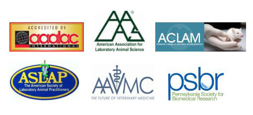 The laboratory animal medicine programs at Penn State College of Medicine are accredited through a number of major organizations, including AAALAC International, AALAS, ACLAM, ASLAP, AAVMC and PSBR. The logos for these six organizations are seen in two horizontal rows of three.