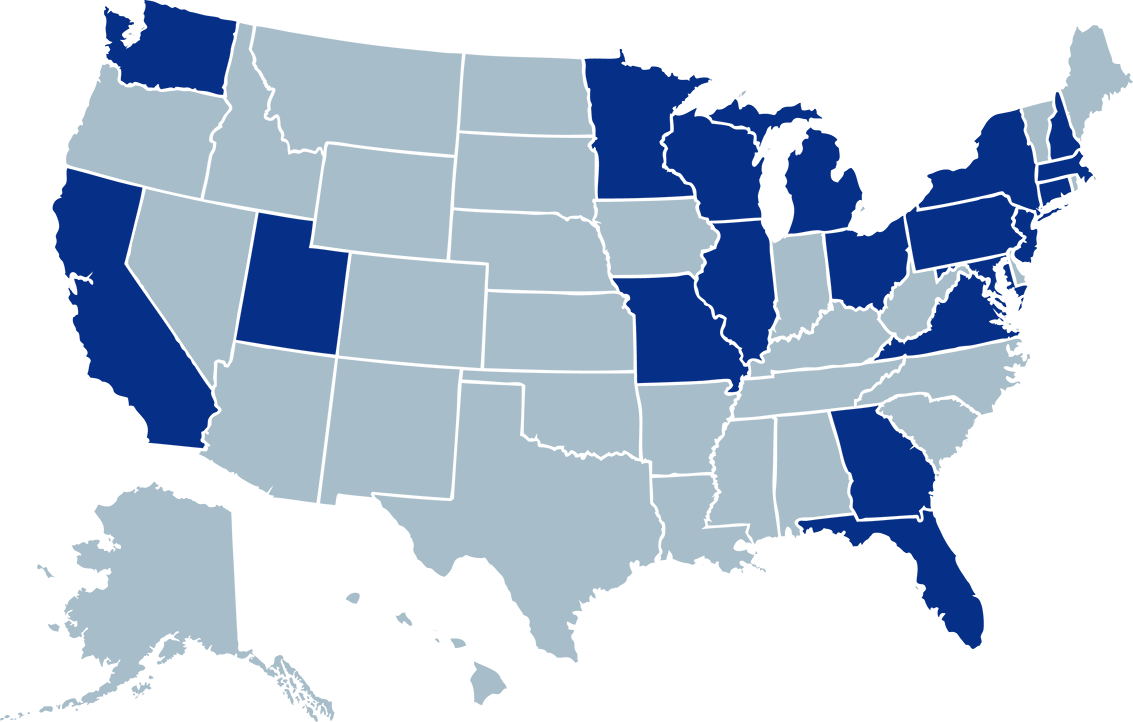 A map of the United States colored to indicate the ratio of students' home state by darkness of blue tint. They are colored darkest to lightest in this order: PA, NY, MD, CA, NJ, OH, MA, CO, CT, NC, WI, DC, DE, IL, UT, FL, HI, ID, ME, MN, NM, OK, OR, TX.